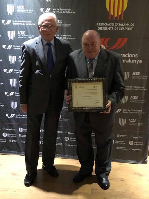 El president del CVB, Amadeu Nualart i Felip, guardonat al sopar de gala de la Nit del Dirigent de l'ACDE (Asociació Catalana de Dirigents Esportius)