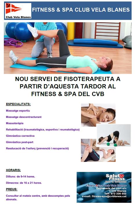 Nou servei de fisioteràpia i quiromassatge al Fitness & Spa Club Vela Blanes