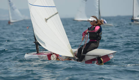 The sailors from Blanes Gal·la, Gemma, Oscar and Pol finish the world class European championship at the El Balís Sailing Club - 1